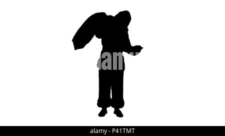 Silhouette Real Santa Claus carrying big bag full of gifts  - Stock Photo