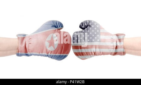 Boxing gloves with USA and North Korea flag.USA vs North Korea concept. isolated on a white background - Stock Photo