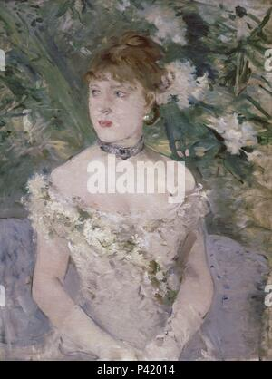 Young girl in a ball gown - 1879 - 71x54 cm - oil on canvas. Author: Berthe Morisot (1841-1895). Location: MUSEE D'ORSAY, FRANCE. Also known as: MUCHACHA EN EL BAILE. - Stock Photo