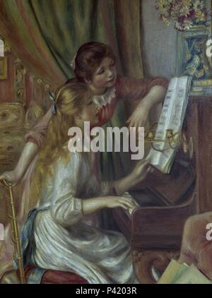 Young Girls at the Piano - 1892 - 112x79 cm - oil on canvas. Author: Pierre Auguste Renoir (1841-1919). Location: MUSEE D'ORSAY, FRANCE. Also known as: NIÑAS AL PIANO. - Stock Photo