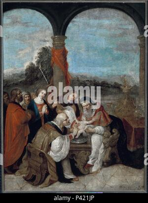 LA CIRCUNCISION - SIGLO XVII - COBRE - 65X49 CM - BARROCO FLAMENCO. Author: Frans Francken II the Younger (1581-1642). Location: BANCO EXTERIOR-COLECCION, MADRID, SPAIN. - Stock Photo