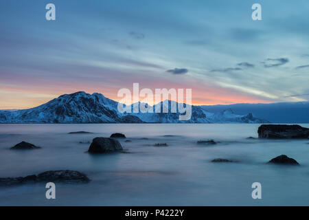 Sunset on Haukland Beach. Lofoten, Norway. - Stock Photo