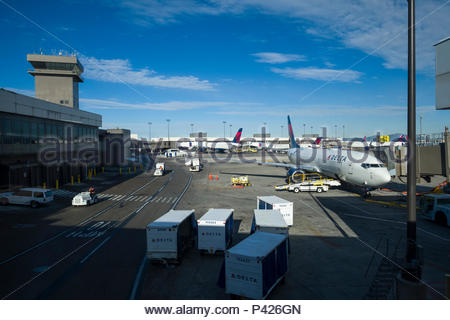 Passenger jet aircraft parked at gates, Salt Lake City International Airport, Salt Lake County, Utah, USA - Stock Photo