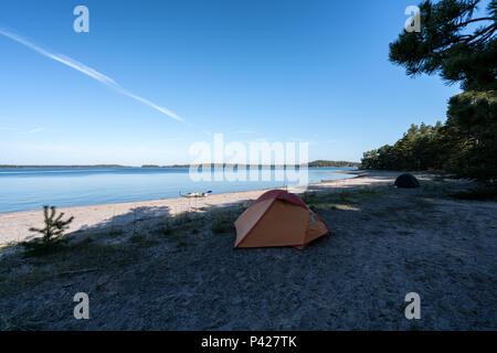 Camping at Stora Fagerö island, Inkoo, Finland, Europe, EU - Stock Photo