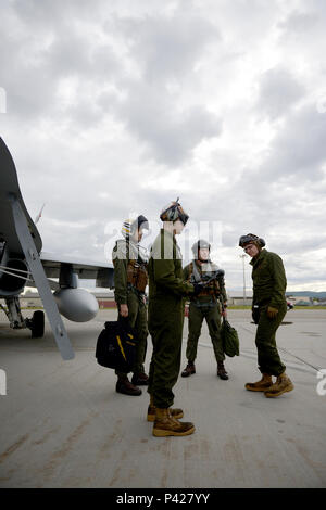 U.S. Marine Corps Cpl. Austin Perry, front center, an F-18 Hornet powerline mechanic and plane captain assigned to Fixed Marine All-Weather Fighter Attack Squadron (VMFA (AW)) 242, Marine Corps Air Station Iwakuni, Japan, communicates with operations staff over the radio June 7, 2016, during RED FLAG-Alaska (RF-A) 16-2, at Eielson Air Force Base, Alaska. VFMA (AW) is one of more than 30 units participating in RF-A 16-2 that benefits from the unique opportunity to integrate with various joint, coalition and multilateral forces to train at a simulated forward operating base. (U.S. Air Force phot - Stock Photo