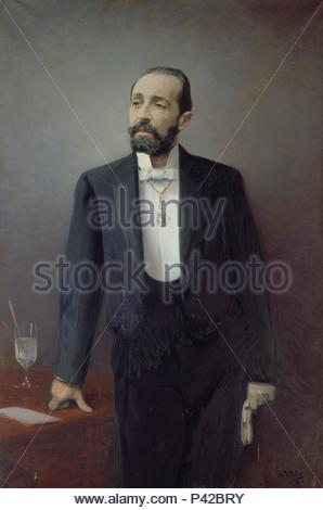 RETRATO DE BARTOLOME ROBERT (1842-1902) MEDICO Y POLITICO ESPAÑOL. Author: Maurice Utrillo (1883-1955). Location: REAL ACADEMIA DE MEDICINA DE CATALUÑA, BARCELONA, SPAIN. - Stock Photo