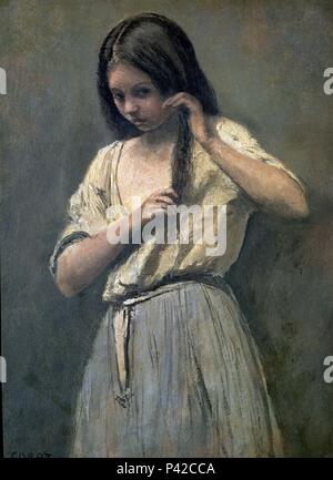 Young Girl at her Toilet - 34x24 cm - oil on canvas. Author: Jean Baptiste Camille Corot (1796-1875). Location: LOUVRE MUSEUM-PAINTINGS, FRANCE. Also known as: JOVEN PEINANDOSE; JEUNE FILLE A SA TOILETTE. - Stock Photo