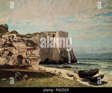 'Cliffs at Etretat after the Storm', 1870, Oil on canvas, 133 x 162 cm. Author: Gustave Courbet (1819-1877). Location: LOUVRE MUSEUM-PAINTINGS, FRANCE. Also known as: LAS ROCAS DE ESTRETAT; LA FALAISE D'ETRETAT APRES L'ORAGE. - Stock Photo