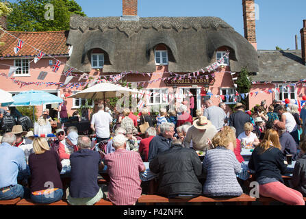 Street party celebrating royal wedding of Prince harry and Meghan Markle, Sorrel Horse  Suffolk, England, UK May 19, 2018  Duke and Duchess of Sussex - Stock Photo