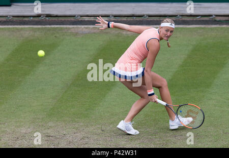 Birmingham, UK. 20th June 2018. Kristina Mladenovic of France in action against Magdalena Rybarikova of Slovakia during the Nature Valley Classic WTA Tour event at Edgbaston Priory Club, Birmingham, UK on Wednesday 20th June 2018. Credit: James Wilson/Alamy Live News - Stock Photo