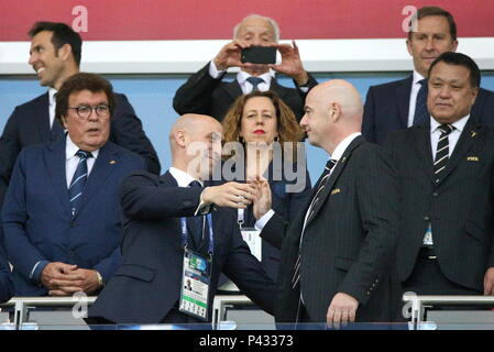 Kazan, Russia. 20th June, 2018. KAZAN, RUSSIA - JUNE 20, 2018: The President of president of the Royal Spanish Football Federation Luis Manuel Rubiales Bejar (L front) and FIFA President Gianni Infantino (R front) before a First Stage Group B football match between Iran and Spain at Kazan Arena at FIFA World Cup Russia 2018; Spain won 1-0. Yegor Aleyev/TASS Credit: ITAR-TASS News Agency/Alamy Live News - Stock Photo