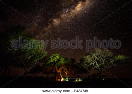 The Milky Way above an expedition campsite in the Okavango Delta. - Stock Photo