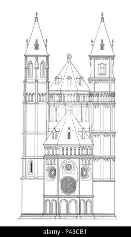 St Peter's Dom, Wormser Dom, a church in Worms, romanesque style, Rhineland-Palatinate, Germany, Dom St. Peter zu Worms, Kaiserdom, Rheinland-Pfalz, Deutschland, digital improved reproduction of an historical image - Stock Photo
