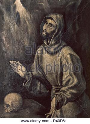 St. Francis of Assisi Receiving the Stigmata - ca. 1595 - 76x57 cm - oil on canvas - Spanish Mannerism. Author: El Greco (1541-1614). Location: MUSEO HOSPITAL DE SANTA CRUZ, TOLEDO, SPAIN. Also known as: SAN FRANCISCO DE ASIS EN EXTASIS; SAINT FRANCOIS D'ASSISE RECEVANT LES STIGMATES. - Stock Photo