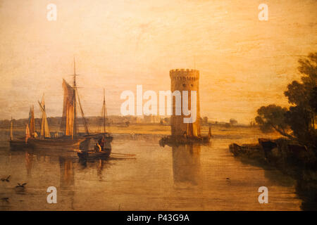 Painting of Tabley House and Lake by JWM Turner - Stock Photo