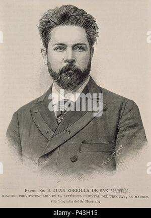 JUAN ZORRILLA DE SAN MARTIN (1855/1931) - ESCRITOR, PERIODISTA, DOCENTE Y DIPLOMATICO URUGUAYO. Location: BIBLIOTECA NACIONAL-COLECCION, MADRID, SPAIN. - Stock Photo