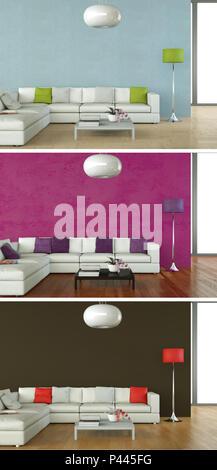 3d Illustration of three color variations of a modern loft interior design - Stock Photo