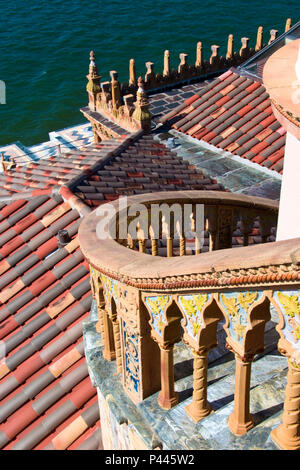 View of stairs to the tower of Ca d'Zan, the Mediterranean Revival mansion of circus owner John Ringling, Sarasota, Florida. - Stock Photo