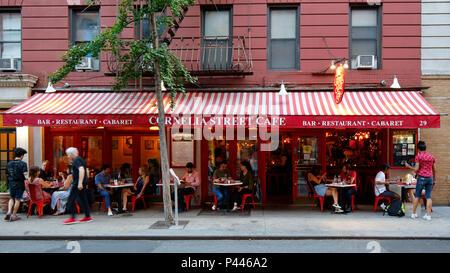 [historical storefront] Cornelia Street Cafe, 29 Cornelia St, New York, NY - Stock Photo