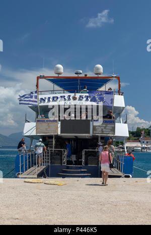 Nidri Star tourist cruise ferry boat, Fiskardo, Cephalonia, Greece - Stock Photo