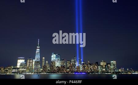 Jersey City, USA - September 11, 2017: Tribute in Light - Lower Manhattan Skyline from Liberty State Park. - Stock Photo