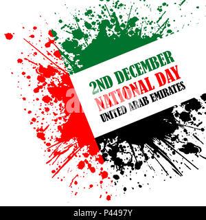 Grunge style image for United Arab Emirates National Day celebration - Stock Photo