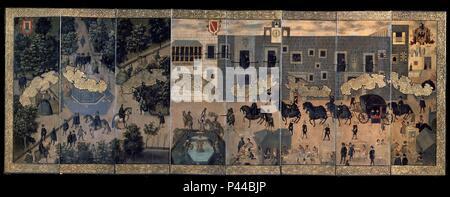 EL PALACIO DE LOS VIRREYES - BIOMBO MEXICANO - SIGLO XVII. Location: MUSEO DE AMERICA-COLECCION, MADRID, SPAIN. - Stock Photo