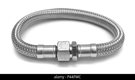 flexible water hose isolated on white - Stock Photo