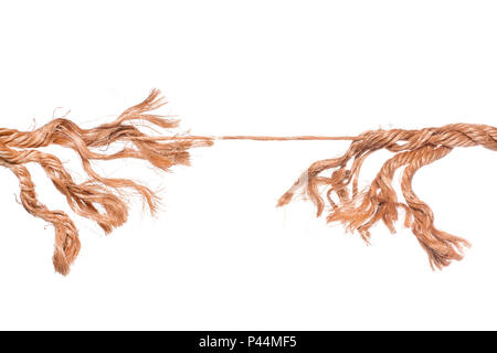 Frayed strained rope near to break. Isolated on white - Stock Photo