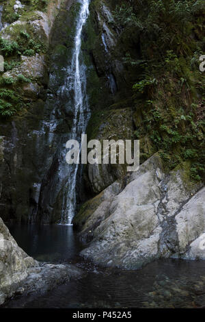 Water fall over rocks, Niagara Falls, Goldstream Provincial Park, Vancouver Island, British Columbia, Canada - Stock Photo