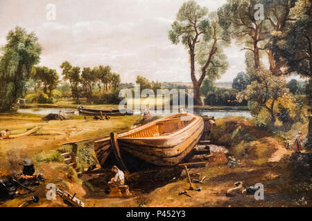 Painting of Boat Building near Flatford Mill by John Constable - Stock Photo