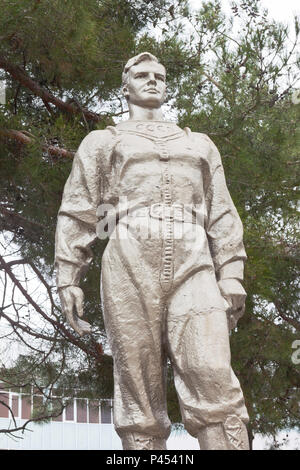 Anapa, Krasnodar region, Russia - March 2, 2018: Monument to Yuri Gagarin on Pioneer Avenue in the city of Anapa - Stock Photo