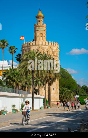 Seville Torre del Oro, view of the Moorish Torre del Oro (Tower of Gold) in the old city quarter of Seville (Sevilla), Andalucia, Spain. - Stock Photo