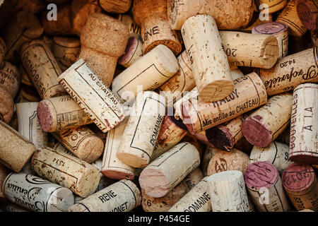 PARIS, FRANCE - 08 AUGUST, 2017: Wooden corks of wine bottles in the the wine store - Stock Photo