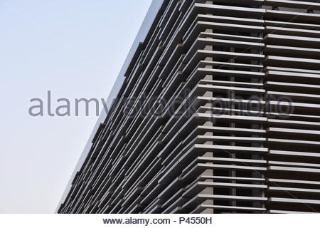 Modern facade steel cladding architectural elements detail - Stock Photo