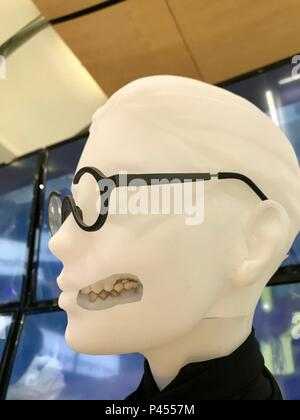 Hannover, Germany - April 2018: 3D printed temporary crown and bridge (teeth) in composite by GC Europe at the FLAM3D booth at Hannover Messe - Stock Photo