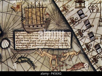 ATLAS CATALAN - DETALLE DE BUQUE - SIGLO XIV. Author: Abraham Cresques (1325-1387). Location: NATIONAL LIBRARY, FRANCE. Stock Photo