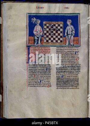 LIBRO DE JUEGOS O LIBRO DEL AJEDREZ DADOS Y TABLAS - 1283 - FOLIO 35V - JUGADORES DE AJEDREZ - MANUSCRITO GOTICO. Author: Alfonso X of Castile the Wise (1221-1284). Location: MONASTERIO-BIBLIOTECA-COLECCION, SAN LORENZO DEL ESCORIAL, MADRID, SPAIN. - Stock Photo