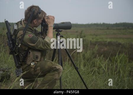 A Norwegian soldier with 2nd Battalion searches for targets from an observationpost as part of exercise Saber Strike 18, June 4, 2018, Adazi training area, Latvia, Saber Strike 18 is the eighth iteration of the long-standing U.S. ArmyEurope-led cooperative training exercise designed to enhanceinteroperability among allies and regional partners, June 4, 2018. This year's exercise, scheduled to take place from June 3-15, focuses on improving land and airoperational capabilities with an additional key objective to train with NATO'senhanced Forward Presence (eFP) battlegroups. The eFP battlegroups - Stock Photo