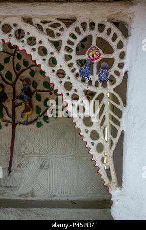Detail of exhibit of a Rajwar hut from Chhattisgarh in the National Crafts Museum, New Delhi, India - Stock Photo