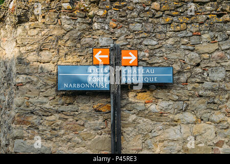 Carcassonne, a hilltop town in southern France, is an UNESCO World Heritage Site famous for its medieval citadel constructed in the 13th and 14th centuries - Stock Photo