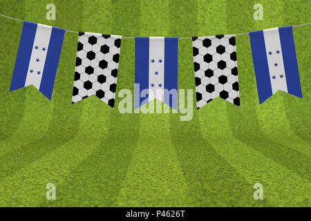 Honduras flag and soccer ball texture football flag bunting. 3D Rendering - Stock Photo