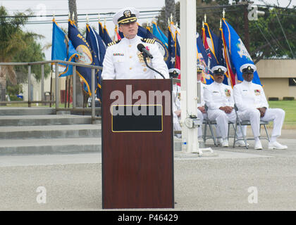 160630-N-YG415-050 NAVAL BASE VENTURA COUNTY, Calif. (June 30, 2016) Capt. Jeffrey Kilian, commodore, 30th Naval Construction Regiment (30 NCR), addresses Seabees and guests for the first time as commodore during a change of command ceremony. During the ceremony, Kilian relieved Capt. James Meyer, who has held the position since July 2014. (U.S. Navy photo by Mass Communication Specialist 1st Class Michael Gomez/Released) - Stock Photo