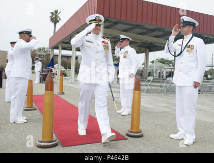 160630-N-YG415-066 NAVAL BASE VENTURA COUNTY, Calif. (June 30, 2016) Capt. Jeffrey Kilian departs a change of command ceremony for the 30th Naval Construction Regiment as the regiment's commodore. During the ceremony, Kilian relieved Capt. James Meyer, who has held the position since July 2014. (U.S. Navy photo by Mass Communication Specialist 1st Class Michael Gomez/Released) - Stock Photo