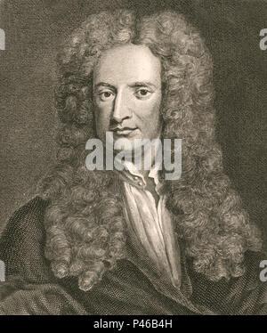 Sir Isaac Newton (1642 – 1726/27) English mathematician, astronomer, physicist - Stock Photo