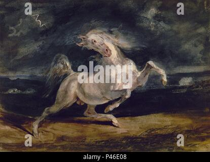 CABALLO ASUSTADO POR LA TORMENTA - SIGLO XIX. Author: Eugene Delacroix (1798-1863). Location: MUSEUM OF FINE ARTS, BUDAPEST, HUNGARY. - Stock Photo