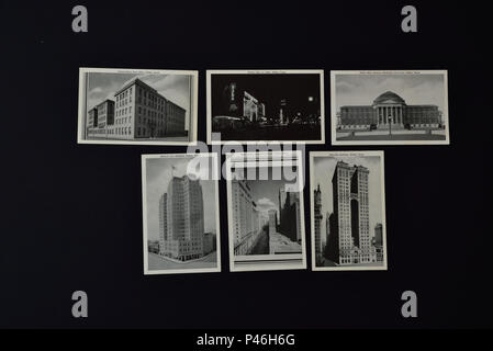 Photograph of six 1930's/1940's American postcards depicting various scenes in Dallas, Texas, in black and white photographs. - Stock Photo