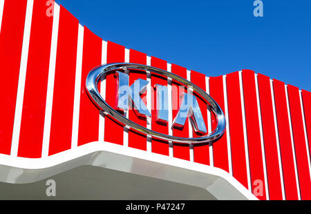 Samara, Russia - June 17, 2018: KIA Motors dealership logo. Kia Motors is South Korea's automobile manufacturer - Stock Photo