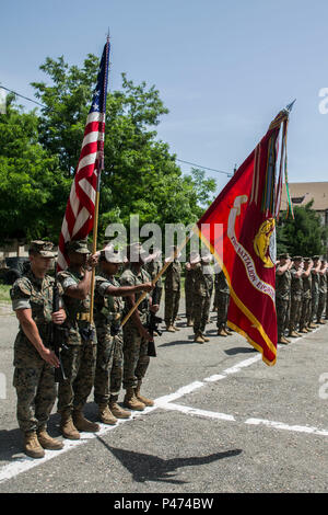 Romanian soldiers and U.S. Marines held a ceremony to honor the longstanding partnership between Marines and Romanian soldiers of the 9th Mechanized Brigade. (U.S. Marine Corps photo by Lance Cpl. Tyler A. Andersen/Released) - Stock Photo