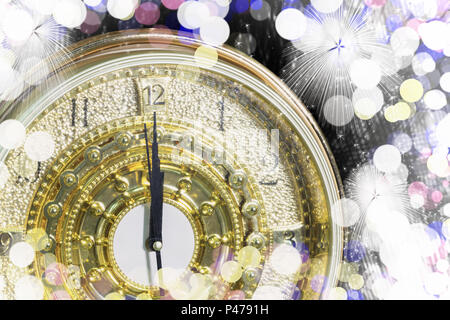 New Year's at midnight time, Luxury gold clock countdown to new year, effect light. - Stock Photo